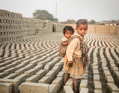 Children at the Brickfield in India