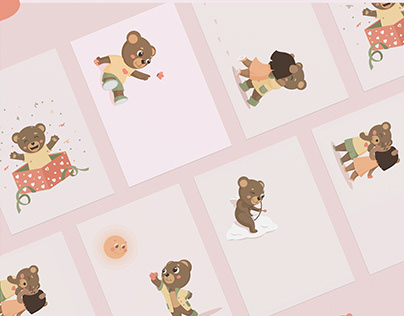 Postcards for Valentine's Day with teddy bears