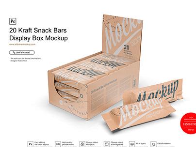 Kraft Display Box and Snack Bars Mockup