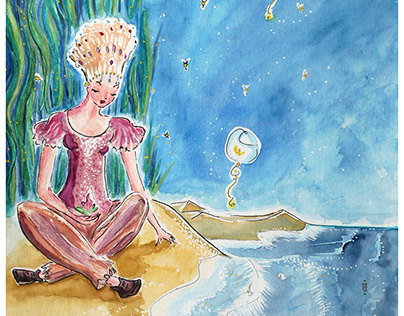 The woman with nenuphar, watercolor illustration