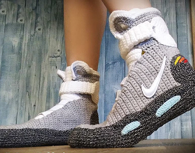 Back to the Future Knitted Slippers, Crochet Knitted Ho