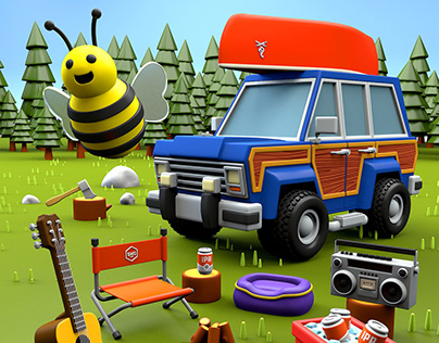 3D ILLUSTRATION: A Day of Camping