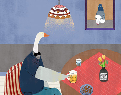 goose drinking beer