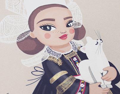 Illustration • La bretonne et sa blanche hermine
