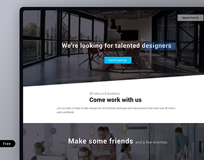 career page design (FREE adobe XD Template)