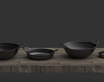"""""""老炒锅系列套组""""Old frying pan series set(cast iron pot)"""