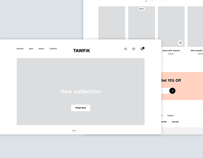 E-commerce| UX Wireframes for Online Shopping