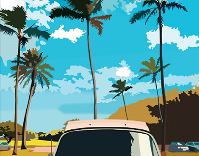 Palm trees in the USA illustration