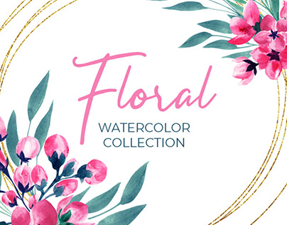 Floral Watercolor Collection. Pink & Green