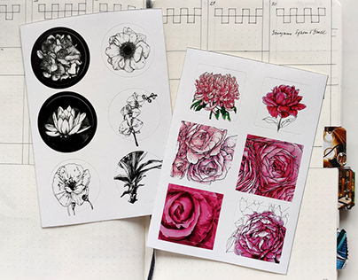 Stickers with flowers illustrations.