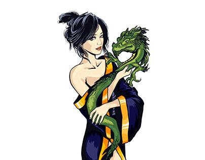 Geisha with Dragon Logo Design for Japanese Tea company