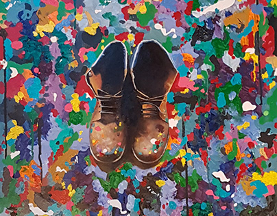 The Artist's Boots - acrylic and oil on panel
