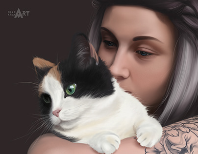 Girl with the cat. Digital art