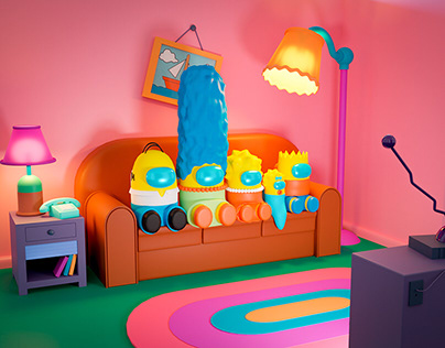 "The Simpsons as ""Among us"" avatars in 3D"