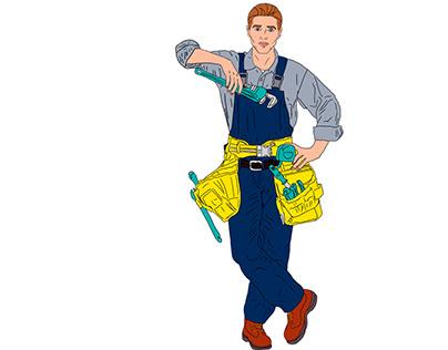 Illustration of a plumber