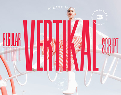 Vertikal Typeface — Regular, Outline, Brush Script