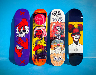 Custom painted skateboards