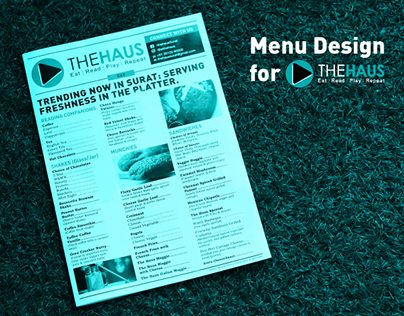 The Haus - Newspaper Style Menu Design