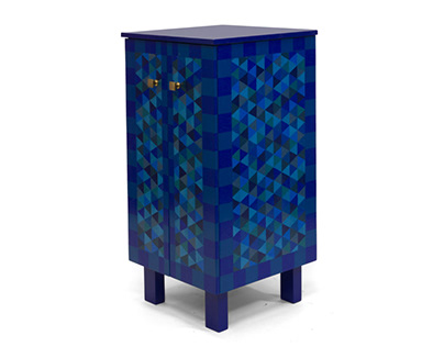 Blue Cabinet with Triangles