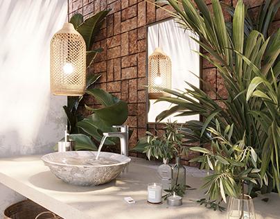 Lovely Boho Style Bathroom, Tulum, Mexico