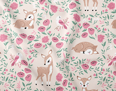 Sweet Deer - baby nursery vector textile pattern