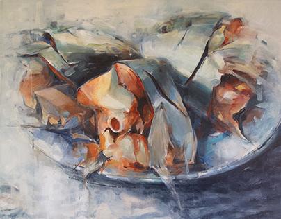 Three Fish Heads, large oil on canvas