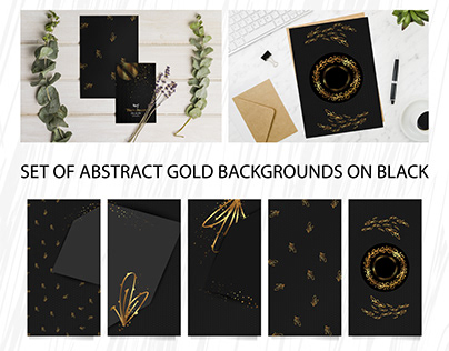Set of abstract gold backgrounds on black