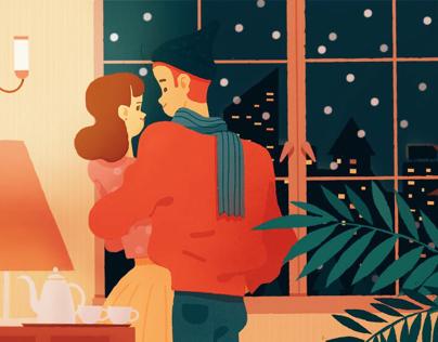 winter&summer旅馆主题插画