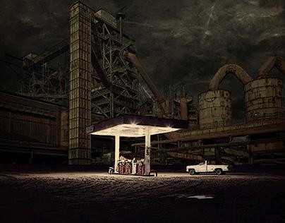 Night gas station
