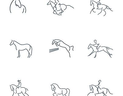 Vector thin line mini icon set about equestrian sports