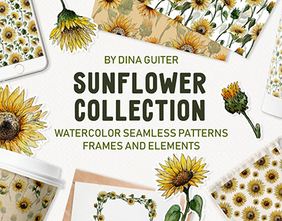 Hand drawn watercolor sunflower collection