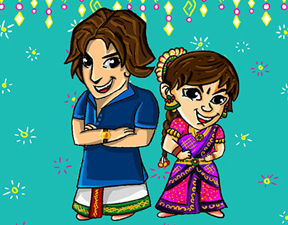 Chibi Artstyle Wedding Invite by Swetha Sridharan