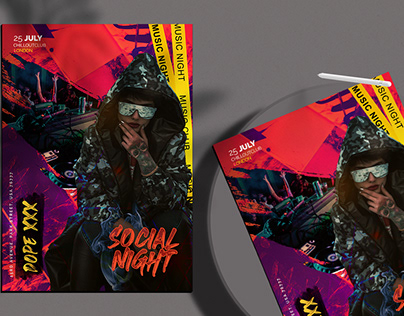 Social Night Event Flyer Free PSD Template