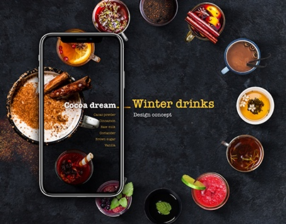 Winter drinks, design concept