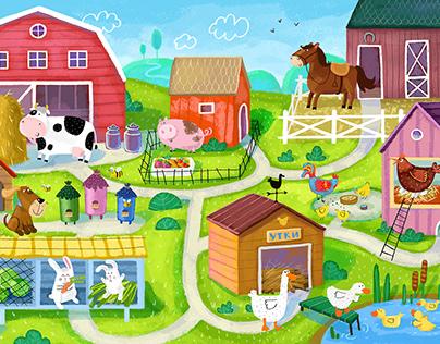 animals on the farm illustration for children