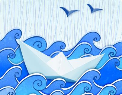 Paper ship in paper sea