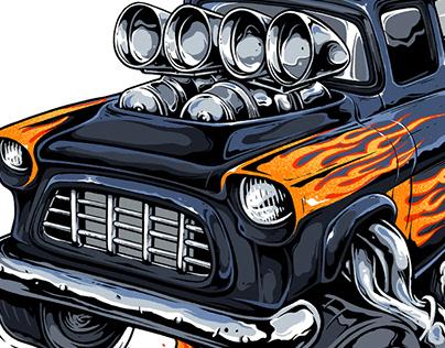 Chevy Hotroad Illustration