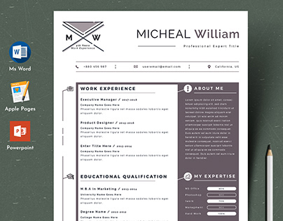 Modern Editable Resume Cv Template in Word Apple Pages