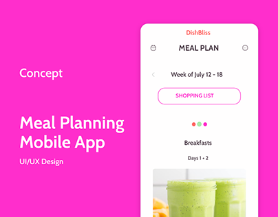 DishBliss Meal Planning Mobile App