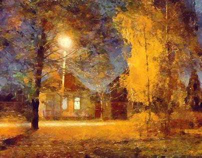 Night. Lantern. House.