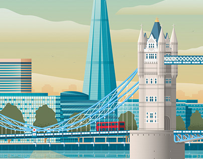 London United Kingdom Travel Poster City Illustration