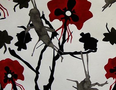 Screen print illustration: Ink and acrylic
