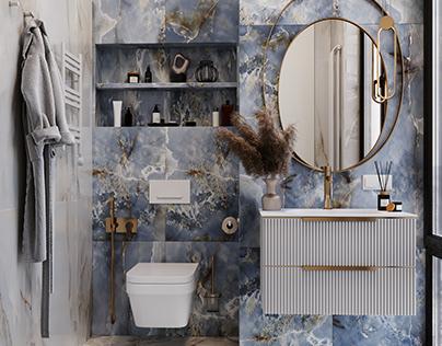 Blue washroom