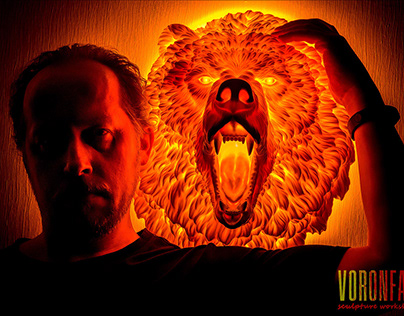 Angry Bear wall sculpture night light