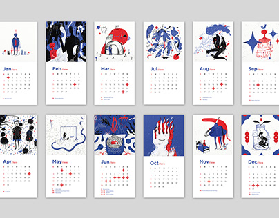 RED and BLUE 2018 Calendar