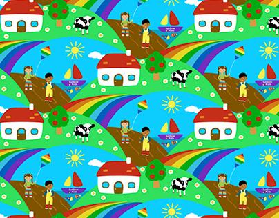 Scenery seamless design kids fabric