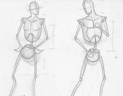 Skeletal stick figures (figure studies)
