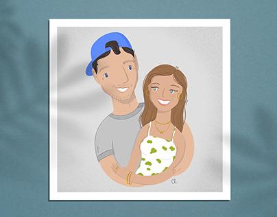 Custom Portraits - Couple