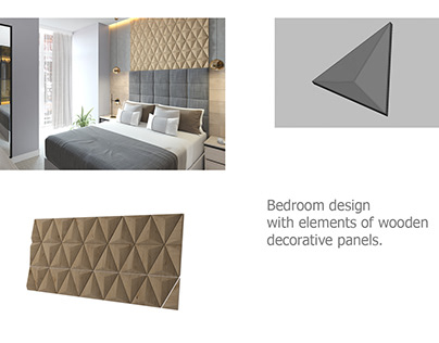 Bedroom design with elements of wooden decorative panel