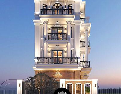 Thiết kế biệt thự 5 tầng tân cổ điển tại tphcm